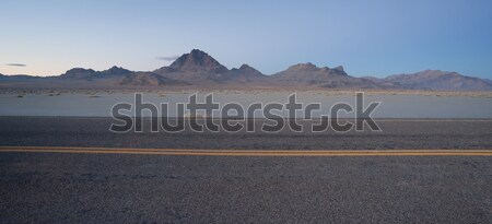 Highway Passes Great Bonneville Salt Flats Silver Island Mountai Stock photo © cboswell