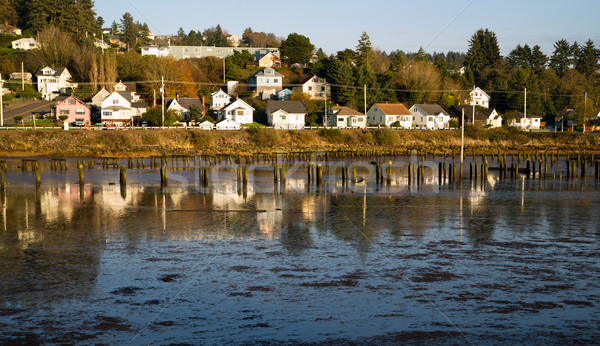 Houses Along Youngs Bay Newhalem HWY Astoria Oregon Stock photo © cboswell