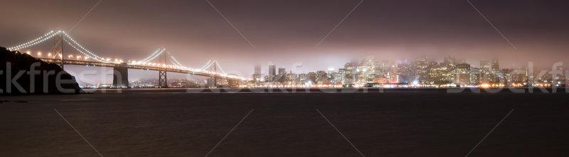 Pont San Francisco brouillard nuit ville arbres Photo stock © cboswell
