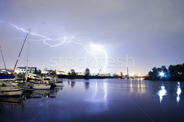 Thunderstorm Lightning Over Thea Foss Waterway Boats Tacoma Wash Stock photo © cboswell
