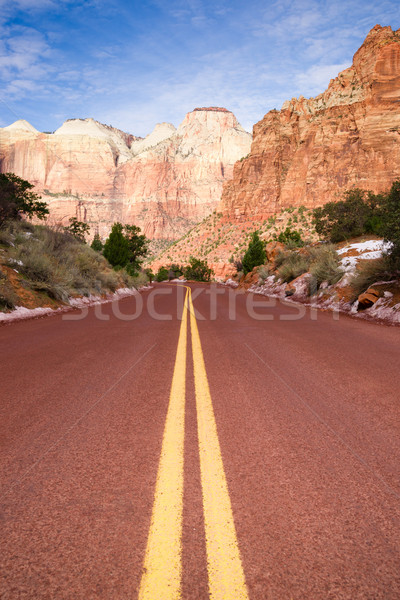 Stock photo: Highway 9 Zion Park Blvd Road Buttes Altar of Sacrifice