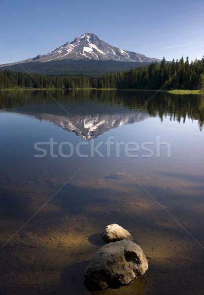 Calm Clear Water Trillium Lake Mount Hood Oregon State Stock photo © cboswell