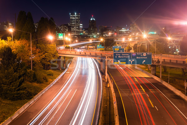 Interstate 5 Travels North Through Portland Oregon Downtown City Stock photo © cboswell