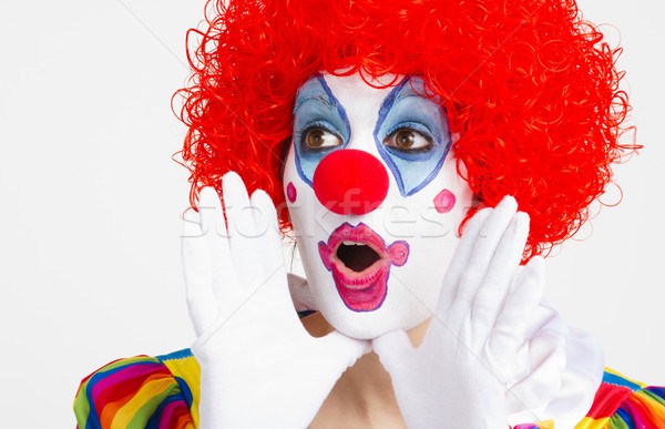 Stock photo: Clown Yelling Extreme Close Up Bright Beautiful Female Performer