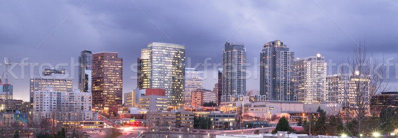 Bright Lights City Skyline Downtown Bellevue Washington United S Stock photo © cboswell