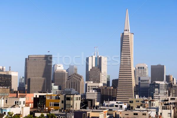 Buurt huizen gebouwen zon laag centrum Stockfoto © cboswell