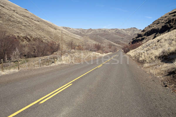 Lonely Tow Lane Divided Highway Cuts Through Dry Hills Landscape Stock photo © cboswell