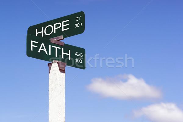 Hope Faith Emotion Idea Signs Crossraods Street Avenue Sign  Stock photo © cboswell