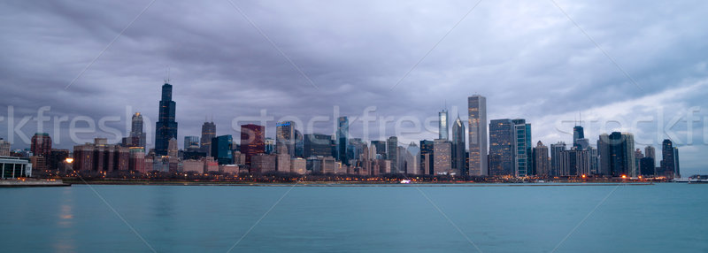 Gündoğumu renk gökyüzü göl Michigan Chicago Stok fotoğraf © cboswell