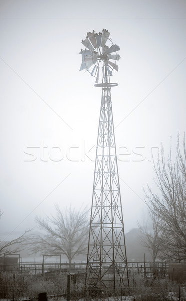 Old Broken Windmill Now Serves as Birdhouse Ranch Farm Stock photo © cboswell