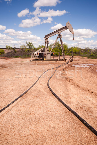 Texas Oil Pump Jack Fracking Crude Extraction Machine Stock photo © cboswell