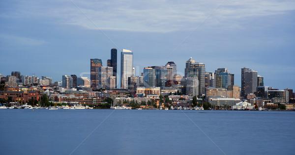 Stockfoto: Seattle · skyline · centrum · kantoorgebouwen · zon