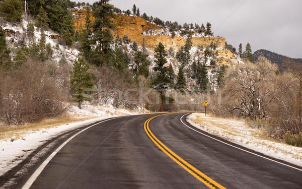 Lodowaty Utah autostrady zimą podróży Zdjęcia stock © cboswell