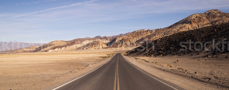 Lonely Long Highway Badwater Basin Death Valley Stock photo © cboswell