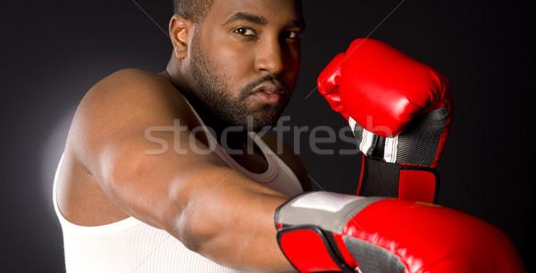 Boxeur noir engins personne profile Homme Photo stock © cboswell