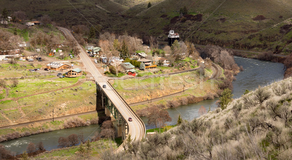Maupin Oregon Downtown Aerial View Deschutes River Highway 197 Stock photo © cboswell