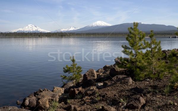 çağlayan dağ üzerinde alpine göl Stok fotoğraf © cboswell