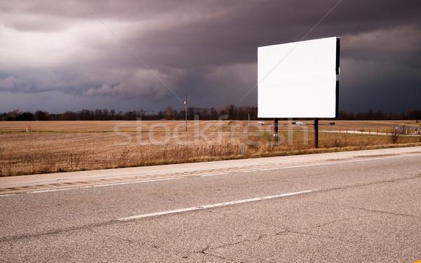 Witte billboard reclame teken boerderij veld Stockfoto © cboswell