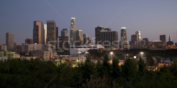 Los Angeles horizontal Skyline crépuscule ville forêt Photo stock © cboswell
