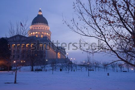 Winter Deep Freeze Sunrise Landscape Utah State Capital Architec Stock photo © cboswell