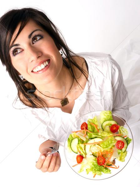 Gezond eten vrouw rauw voedsel vers groene salade Stockfoto © cboswell
