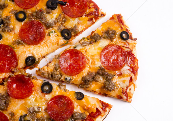 Sliced Fresh Hot Supreme Meat Pizza Hot Food Piece White Stock photo © cboswell