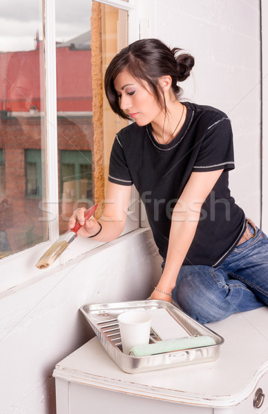Hip Woman Painting Tools Brush Roller Window Frame Stock photo © cboswell