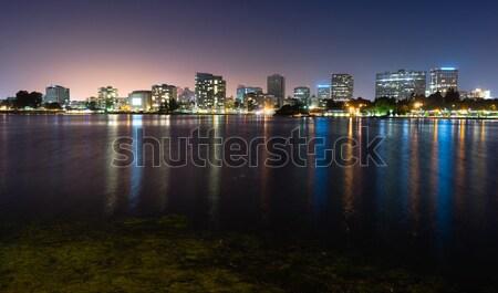 Oakland California Night Sky Downtown City Skyline Lake Merritt Stock photo © cboswell