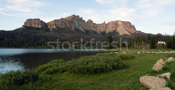 Brooks Lake Campground Pinnacle Buttes Togwotee Pass Wyoming Stock photo © cboswell