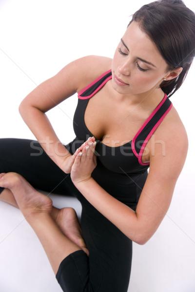 Heureux femme méditation s'asseoir yoga posent Photo stock © cboswell