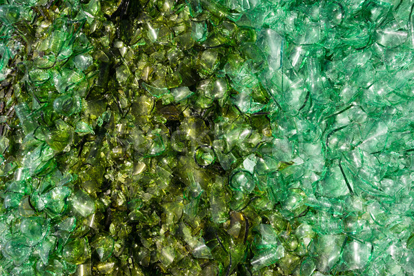 Crushed Broken Glass Bottle Recycle Sharp Green shards Stock photo © cboswell