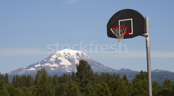 Basketball Hoop Backboard Mountain Background Mt Adams Cascade R Stock photo © cboswell