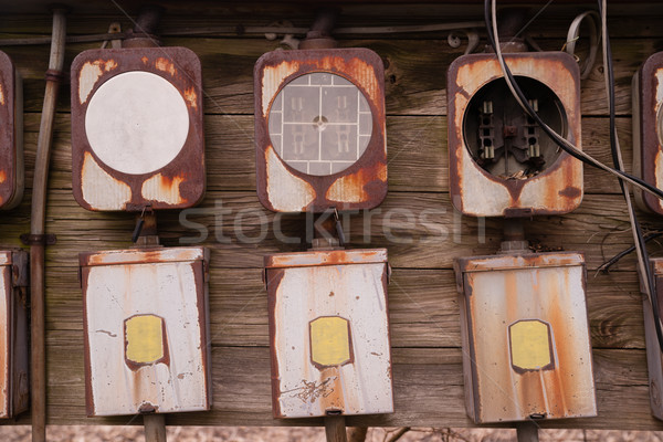 Old Home Fuse Box Panel Rusted Electrical Equipment Stock photo © cboswell