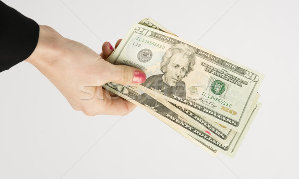 Business Woman Hands You Cash Payment Twenty Dollar Bills Stock photo © cboswell