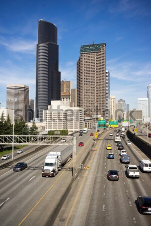 Interstate autoroute centre-ville Seattle Skyline Photo stock © cboswell