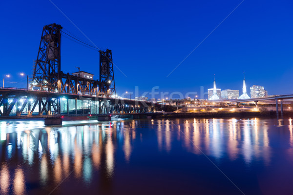 Steel Bridge Oregon Street Willamette River Downtown Portland Stock photo © cboswell