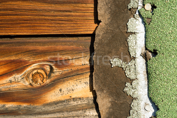 Knotty Pine Board Weathered Wood Asphalt Shingle Roofing Siding  Stock photo © cboswell