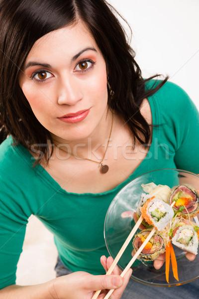 Openhartig sluiten portret cute brunette vrouw Stockfoto © cboswell