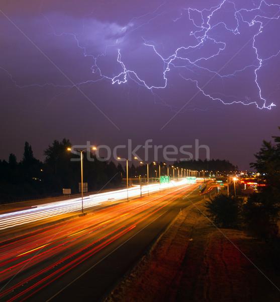 Sağanak yıldırım Washington karayolu ışık yukarı Stok fotoğraf © cboswell