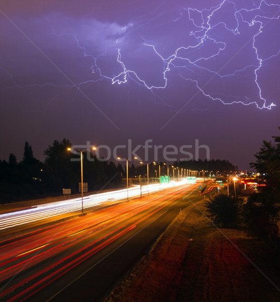 Onweersbui bliksem Washington snelweg licht omhoog Stockfoto © cboswell