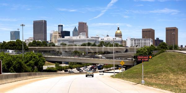 Autó autópálya csúcsforgalom belváros Atlanta város Stock fotó © cboswell