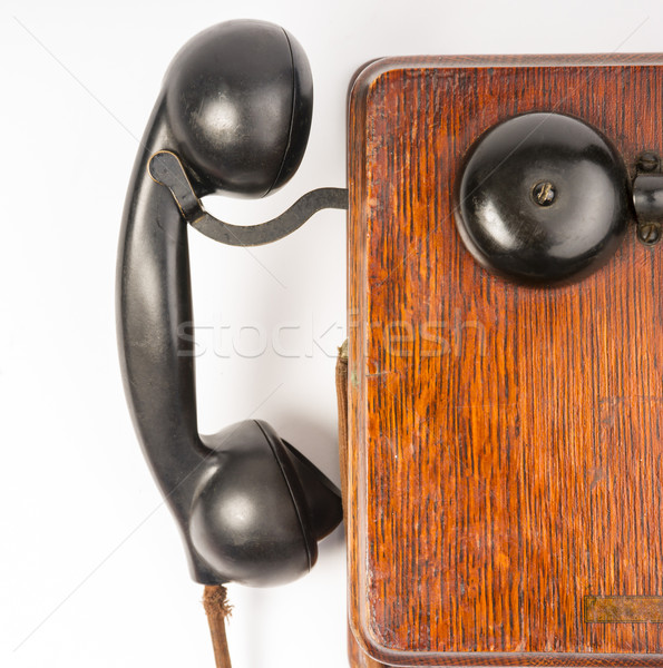 Vintage Obsolete Oak Telephone Set Bakelite Handset Wallbox Ring Stock photo © cboswell