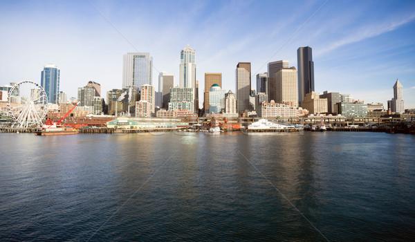 Waterfront Piers Dock Buildings Ferris Wheel Boats Seattle Ellio Stock photo © cboswell
