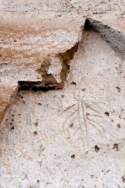 Láva pont ősi szirt festett kő Stock fotó © cboswell