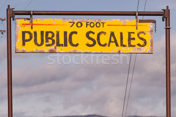 Public Scales Sign Vintage Agriculture Area Clearing Storm Stock photo © cboswell
