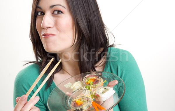 суши красивая женщина женщину продовольствие улыбка счастливым Сток-фото © cboswell