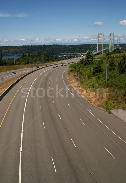 Highway 16 Crossing Puget Sound Over Tacoma Narrows Bridge Stock photo © cboswell