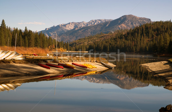 Boats Kayaks Ducks Wildlife Fisherman Hume Lake Kings Canyon Stock photo © cboswell
