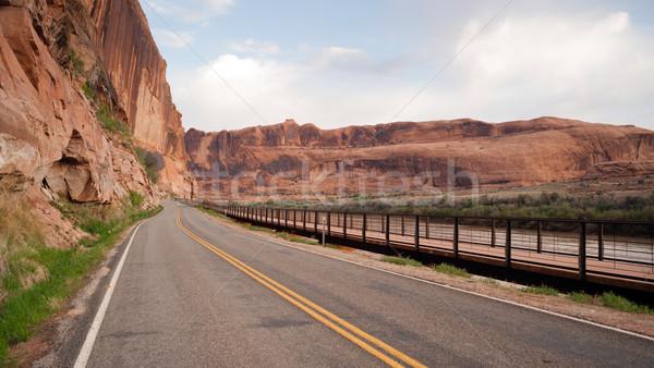 Stockfoto: Utah · snelweg · Colorado · rivier · fiets · pad
