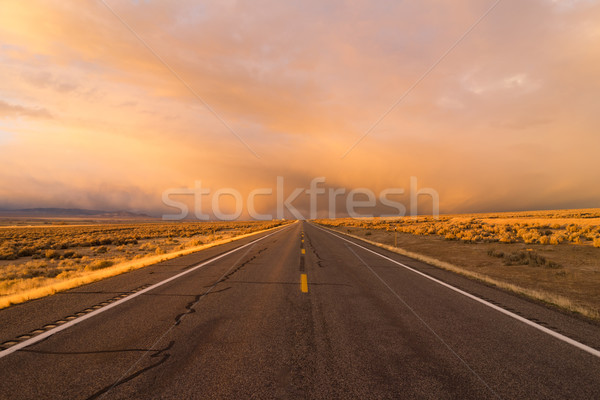 Orange Sunset Open Road Two Lane Highway Horizontal Stock photo © cboswell